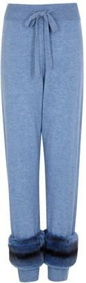 Izaak Azanei Blue Fur-trimmed Wool And Cashmere-blend Sweatpants