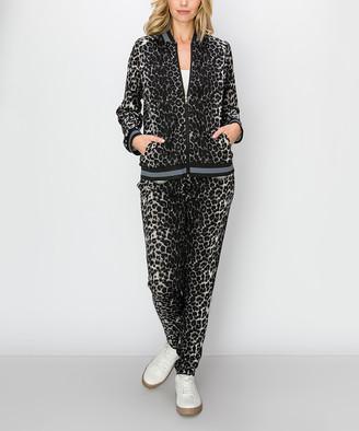 Kimberly C Women's Casual Pants Black - Black Leopard Zip-Up Active Jacket & Pants - Women