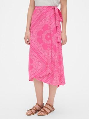 Gap Print Wrap Midi Skirt