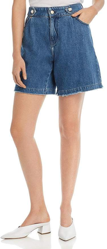Mother of Pearl No Frills by Faux Pearl Button Denim Shorts