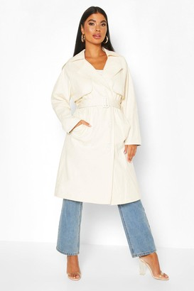 boohoo Petite Check Detail Trench Coat