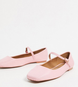 ASOS DESIGN Wide Fit Late mary jane ballet flats in baby pink
