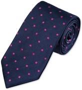 Charles Tyrwhitt Navy and magenta silk classic spot tie