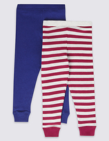 Marks and Spencer 2 Pack Cotton Blend Cuffed Hem Leggings (18 Months - 16 Years)