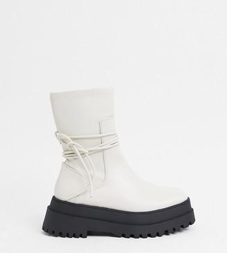 Public Desire Wide Fit Public Desire Finale Wide Fit chunky flat ankle boots with tie in bone