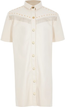 River Island Girls Cream faux leather fringe shirt dress