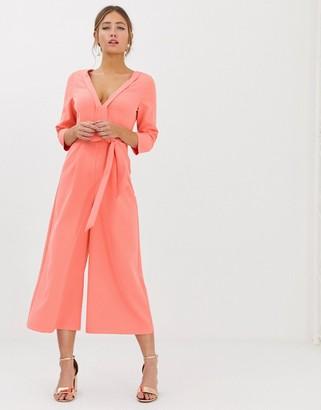 Paper Dolls wide leg culotte jumpsuit with tie waist in coral-Orange