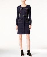 INC International Concepts Petite Zip-Front Denim Dress, Only at Macy's