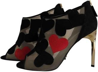 Diane von Furstenberg Black Suede Sandals