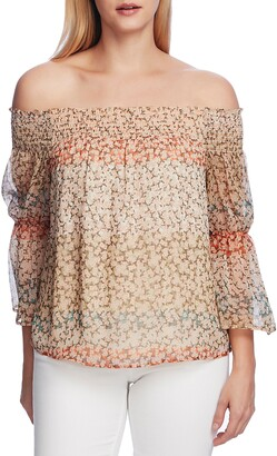 Vince Camuto Smocked Off-the-Shoulder Ditsy Top