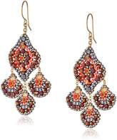 Miguel Ases Soft Pink Pyrite and Swarovski Small Chandelier Drop Earrings