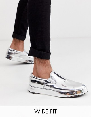 ASOS DESIGN Wide Fit slip on trainers in metallic mirror silver