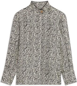 Sandro Wave Pattern Silk Shirt