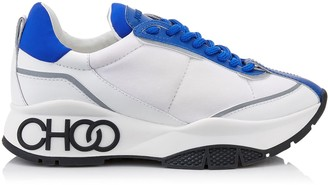Jimmy Choo RAINE Electric Blue Neoprene Calf and Rubberised Lace Up Trainers with Grey Reflective Strip