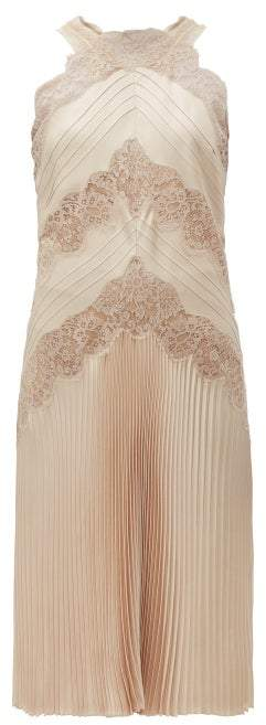Fendi Chantilly Lace Halterneck Charmeuse Dress - Womens - Nude