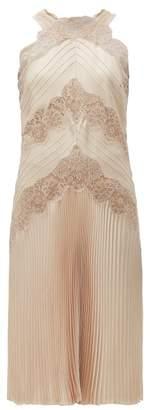 Fendi Chantilly Lace Halterneck Charmeuse Dress - Womens - Nude