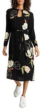 Reiss Arley Floral Print Belted Dress