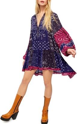 Free People Shibori Long Sleeve Tunic Dress