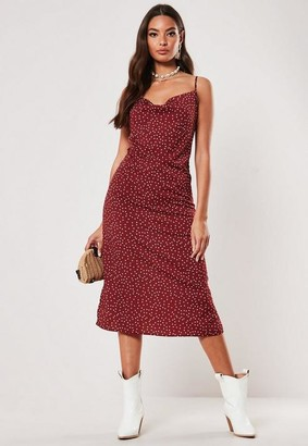 Missguided Red Polka Dot Cowl Midi Dress