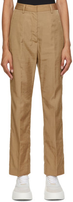 MM6 MAISON MARGIELA Tan Straight High-Waist Trousers