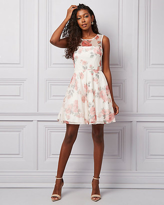 Le Château Floral Print Mesh Illusion Party Dress