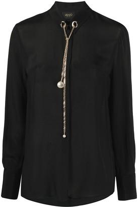 Liu Jo Chain-Embellished Long-Sleeved Shirt
