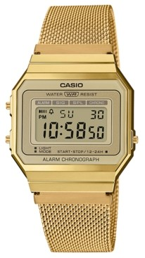 Casio Unisex Gold-Tone Stainless Steel Mesh Bracelet Watch 35.5mm