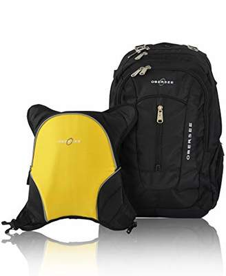 Obersee Bern Diaper Bag Backpack with Detachable Cooler (Black/Yellow)