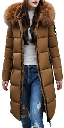 Homebaby Women Winter Coat Women Long Cotton Padded Coat Faux Fur Hooded Winter Parka Slim Down Lammy Jacket Ladies Warm Quilted Padded Lightweight Trench Outwear Long Sleeve Tops Cardigan Coffee