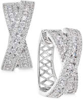 Arabella Swarovski Zirconia Crisscross Hoop Earrings in Sterling Silver, Only at Macy's