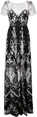 Marchesa Notte Long Embroidered Dress