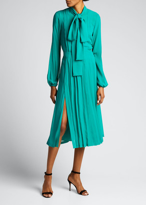 No.21 Long-Sleeve Tie-Neck Pleated Silk Dress