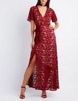 Charlotte Russe Lace Surplice Maxi Dress