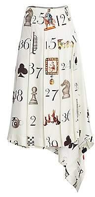 Monse Women's Numbers-Print Pleated Silk Twill Midi Skirt