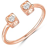 Dinh Van 18K Rose Gold Le Cube Diamant Open Ring with Diamonds