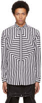 Givenchy Black and White Panelled Striped Shirt