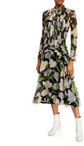 Derek Lam Jason Wu Collection Floral Print Crinkled Chiffon Tie-Neck Dress