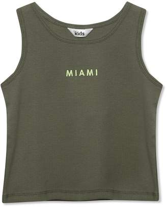 M&Co Slogan ribbed vest top (3yrs-12yrs)