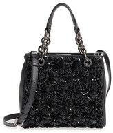 MICHAEL Michael Kors Flora Burst Leather Satchel - Black