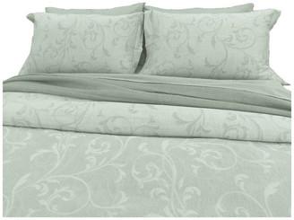 Natural Comfort Yue Home Textile Yarn-Dyed Linen Cotton Duvet Cover Set, Sage, Queen