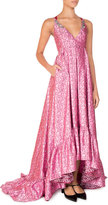 Erdem Janet Sleeveless Beaded High-Low Gown, Pink/Red
