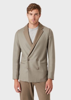 Giorgio Armani Wool Flannel Double-Breasted Jacket