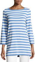 Michael Kors Striped Cashmere 3/4-Sleeve Sweater, Blue
