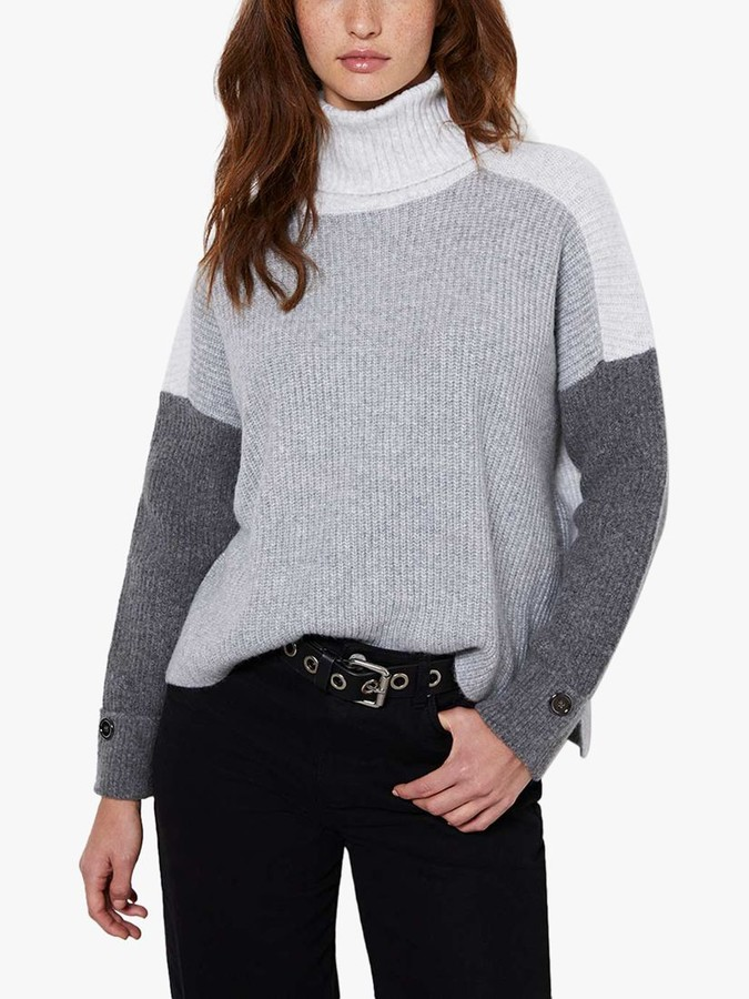 Mint Velvet Chunky Knit Roll Neck Jumper, Grey