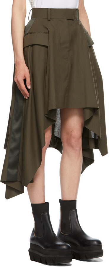Thumbnail for your product : Sacai Khaki Asymmetric Draped Suiting Skirt