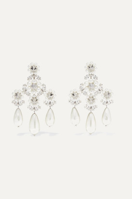 Simone Rocha Faux Pearl, Crystal And Silver-tone Earrings