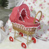 Little Ella James Wicker Dolls' Pram With Red Hood