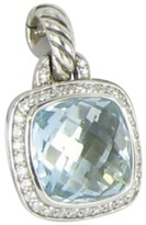 David Yurman Albion 925 Sterling Silver 0.22cts Diamond Blue Topaz Enhancer Pendant