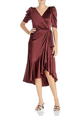 Cinq à Sept Lisa Ruffled Silk Faux Wrap Dress