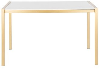 Wade Logan Gary Dining Table Top Color: White, Base Color: Gold